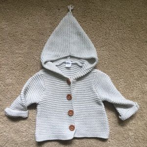 hooded knit cardigan sweater